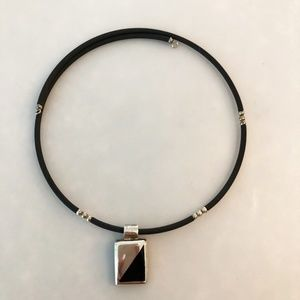 Jewelry - Black Rubber Choker with Sterling S. Onyx Pendant